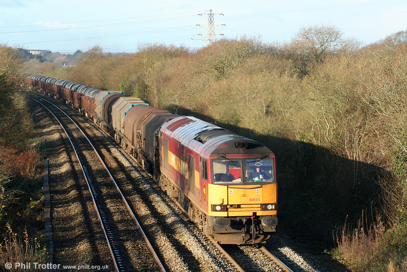 60085 'Mini - Pride of Oxford' strarts the climb up Stormy Bank with 6H25, 0956 Margam to Llanwern on 28th November 2009.
