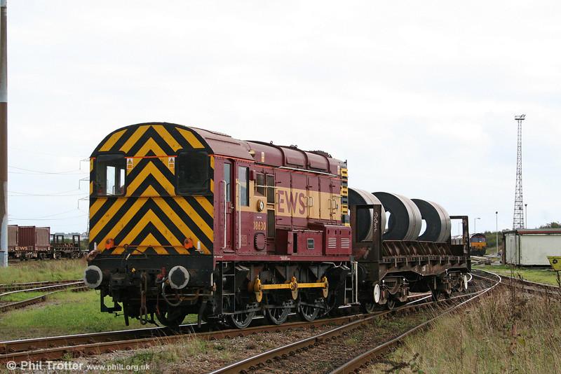 08630 'Bob Brown' shunts steel coils at Margam Knuckle Yard on 4th October 2009.