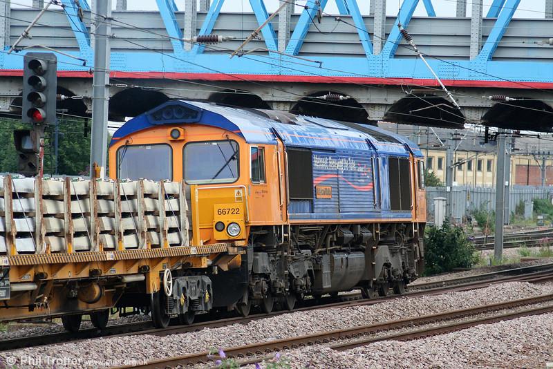 GBRF/Metronet 66722 'Sir Edward Watkin' heads south through Peterborough with 4V11, 1801 Peterborough Yard to Taunton Fairwater on 4th August 2009.
