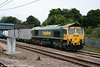 66516 is seen at Peterborough with 4E55, 1448 Felixstowe to Doncaster on 4th August 2009.