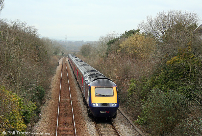 Diverted via the Vale of Glamorgan line, FGW's 0857 Swansea to London Paddington passes Ewenny on 28th February 2009.