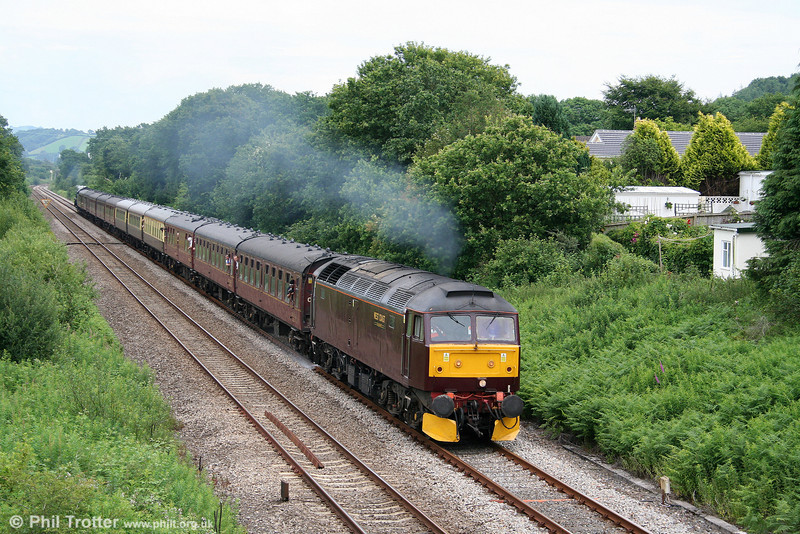 West Coast's 47760 passes Llanllwch with the Railway Touring Company's 1Z21, 1315 Carmarthen to Pembroke Dock 'The Pembroke Coast Express' on 28th June 2009. 70013 'Oliver Cromwell' was at the rear.