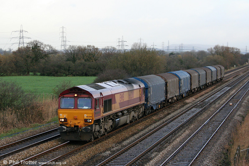 66200 'Railway Heritage Committee' passes Coedkernew with 6V78, 0459 Wembley to Margam on 5th December 2009.
