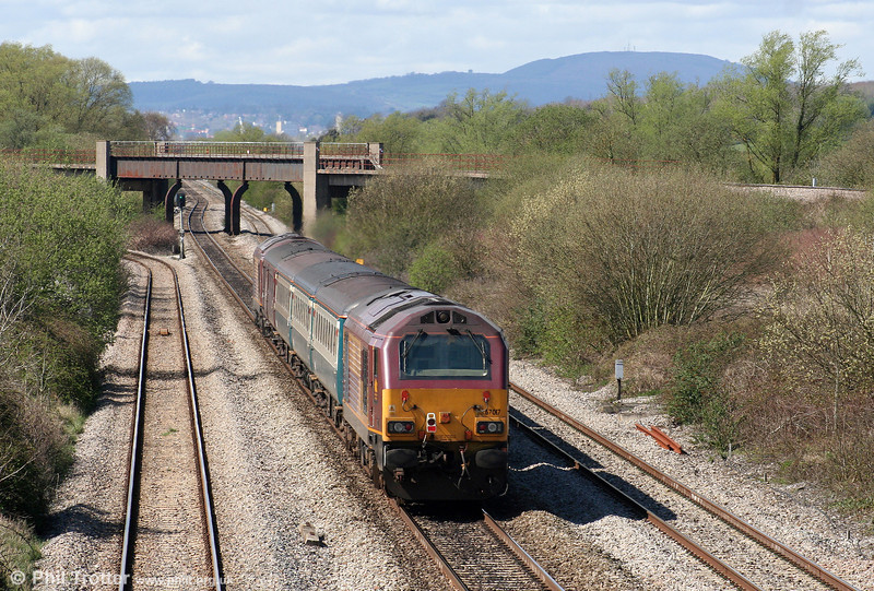 67017 'Arrow' brings up the rear of 2U14, 1102 Taunton to Cardiff Central as it is about to pass beneath Bishton Flyover on 7th April 2009.