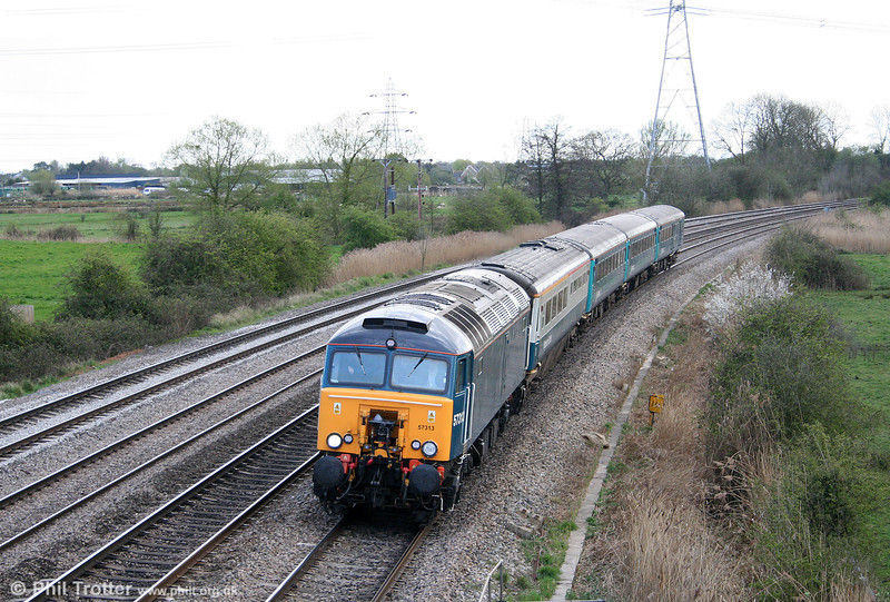 57313 passes Duffryn with 1W91, 1617 Cardiff Central to Holyhead on 7th April 2009.
