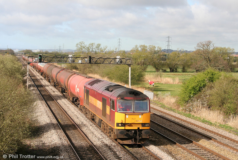 60024 is seen at Coedkernew with 6B13, 0510 Robeston to Westerleigh on 7th April 2009.