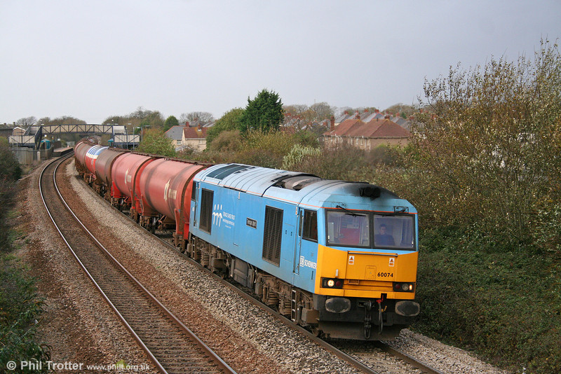 Returning to work in South Wales, 60074 'Teenage Spirit' passes Pyle with 6B13, 0510 Robeston to Westerleigh on 14th November 2009.
