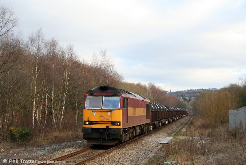 Engineering work on the Swansea District Line on 1st February 2009 necessitated the diversion of 6B12, 1414 Margam to Trostre via the main line. As is normal practice on such occasions, a second loco was attached to enable a double reversal at Llandeilo Junction. 60024 passes Gowerton with 60072 at the rear.