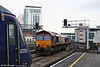 66237 and 66134 run light through Cardiff Central towards Margam on 7th January 2009.