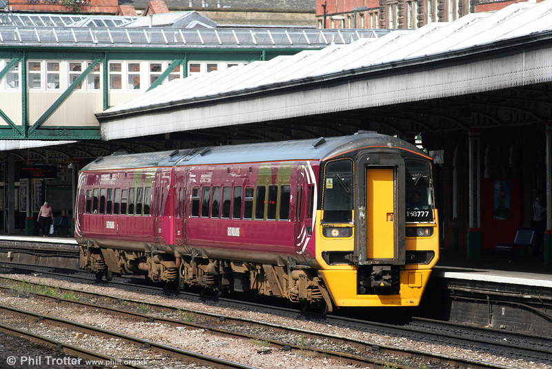 EMT 158777 still displays the liveries of several previous owners at Nottingham on 6th August 2009.