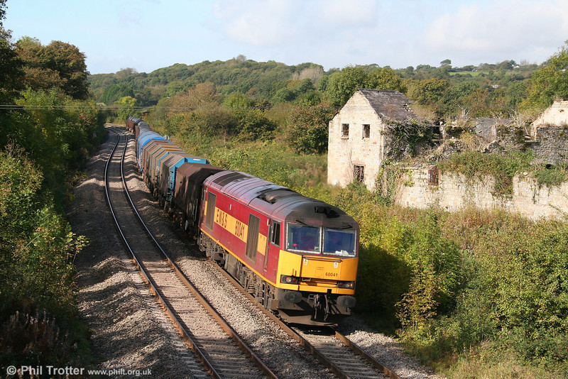 60041 passes Llangewydd with 6B03, 0909 Trostre to Llanwern on 10th October 2009.