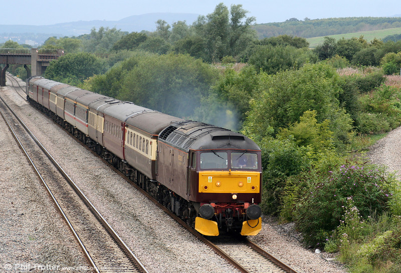 West Coast's 47760 passes through Llandevenny at the head of Nenta Train Tours 1Z62, 1640 Cardiff Central to Norwich, the return 'Cheddar Gorge & the Welsh Capital' railtour on 22nd August 2009.