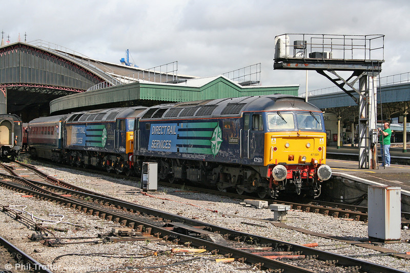 DRS 47501 'Craftsman' and 47802 'Pride of Cumbria' depart from Bristol Temple Meads with Rail Blue Charters 1Z47, 0713 Chesterfield to Paignton, 'The Seaside Express' on 15th August 2009.