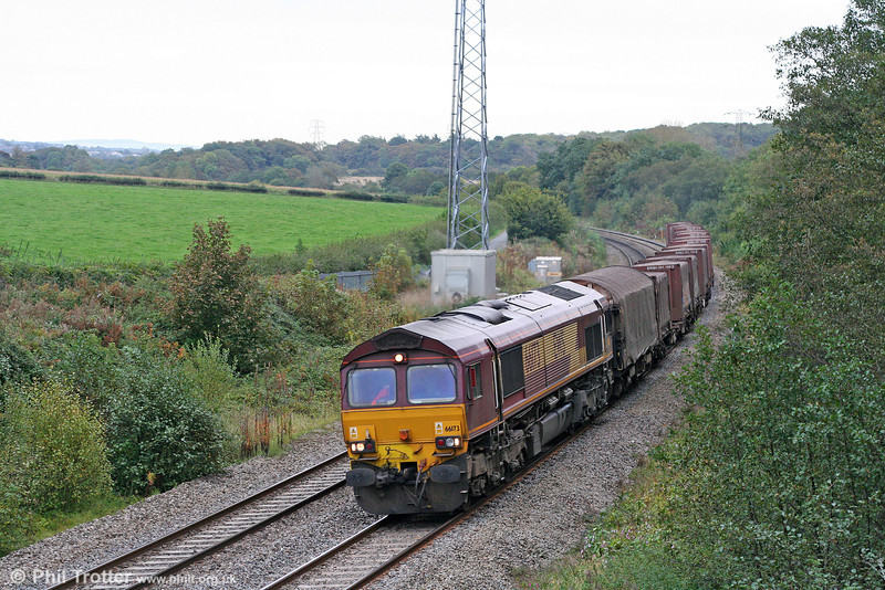 66173 at Llangewydd with 6V19, 1722 (previous day) Immingham Sorting Sidings to Margam on 9th October 2009.