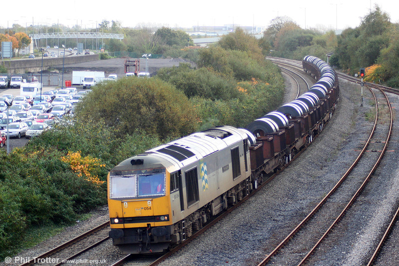 60054 'Charles Babbage' passes Briton Ferry with 6B12, 1414 Margam to Trostre on 25th October 2009.