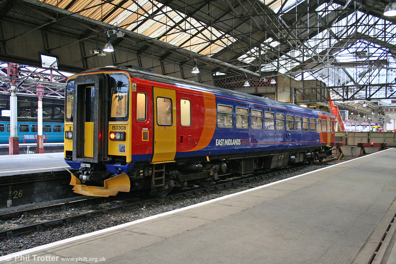 East Midlands Trains 153308 waits at Crewe ready to form the 2040 departure for Derby on 16th July 2009.