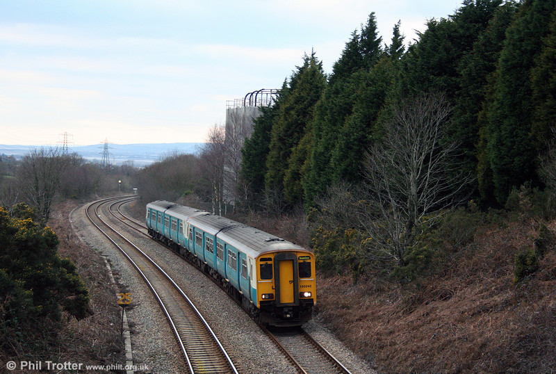 150242 and a sister unit climb Cockett Bank forming the 1207 Shrewsbury to Swansea on 1st February 2009.