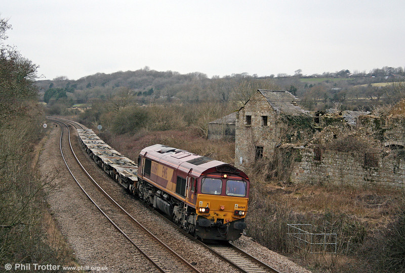 66069 passes Llangewydd with 6A16, 1235 Haverfordwest to Didcot MoD on 14th February 2009.