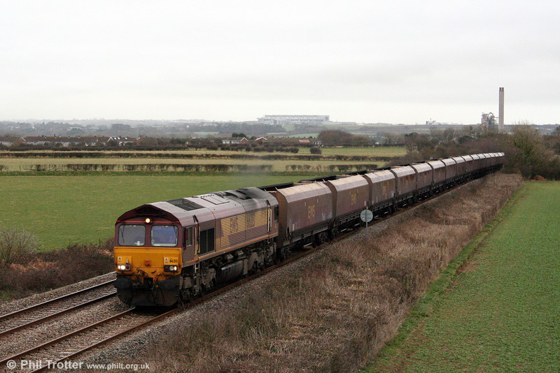 66213 heads 4O54, 1407 Aberthaw Power Station to Swansea Burrows Yard through St. Athan on 7th March 2009.
