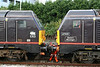 67005 'Queen's Messenger' and 67006 'Royal Sovereign' are coupled together at Swansea on 25th October 2009.