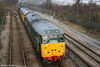 DCR liveried 31601 on 2Z08 approaches Swansea Loop East Junction on 9th December 2009. The consist was standing in for NR unit 950001.