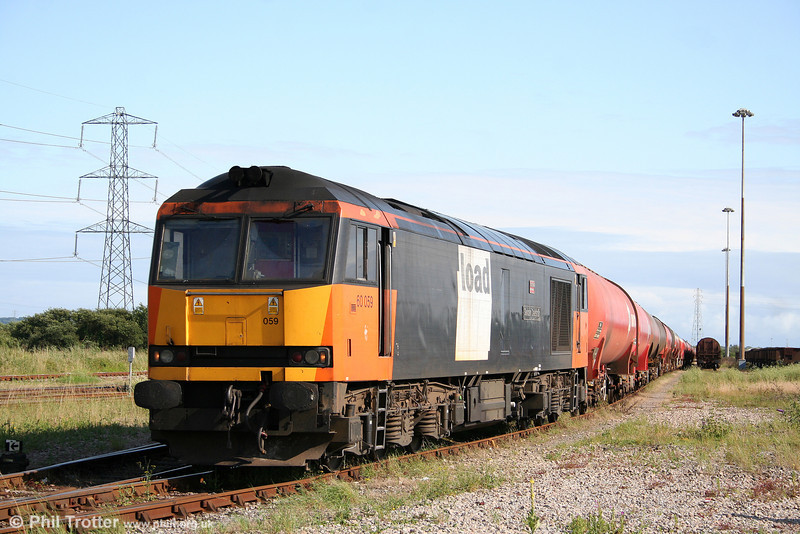 60059 'Swinden Dalesman' shortly after arrival at Margam Knuckle Yard with 6B33, 1212 Theale to Margam on 18th July 2009.