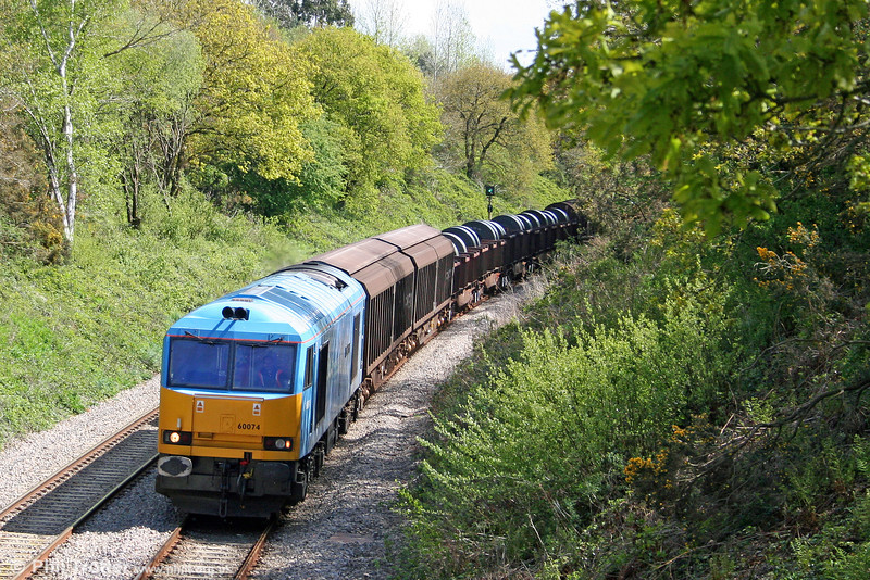 60074 'Teenage Spirit' passes Allt y Graban with 6B12, 1421 Margam to Trostre on 3rd May 2009. This was seen as a proving run, the loco having failed at Craven Arms two days earlier.