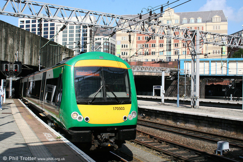 London Midland 170503 arrives at Birmingham New Street forming the 0940 service from Hereford on 7th August 2009.