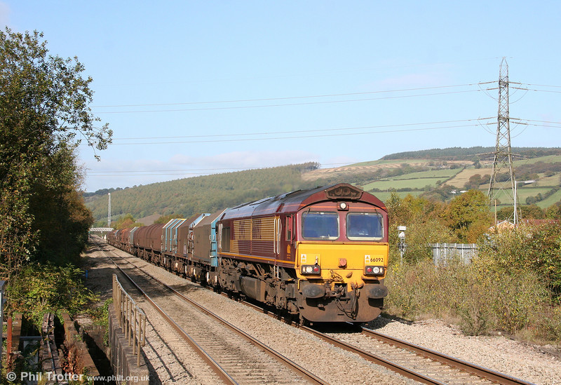 66092 at sunny Pontyclun with 6H25, 0952 Margam to Llanwern on 17th October 2009.