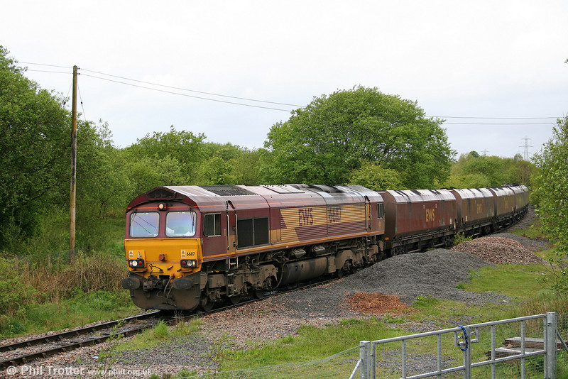 66117 is seen at Hirwaun with 6C45, 1054 Tower Colliery to Aberthaw Power Station on 16th May 2009.