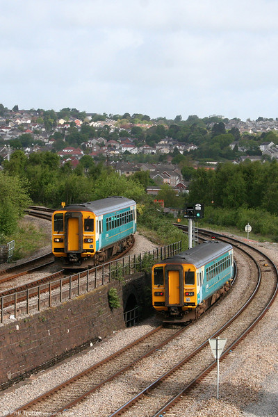 Seeing double. A pair of class 153s pass at Swansea loop west.