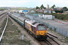 67017 'Arrow' slows to call at Severn Tunnel Junction with 2C79, 1400 Cardiff Central to Taunton on 7th April 2009.