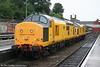 97302 - formerly 37170 - and 97303 (37178), two of the class 37s rebuilt for Network Rail for use on the Cambrian Line ERTMS signalling project, wait at Shrewsbury on 16th July 2009.