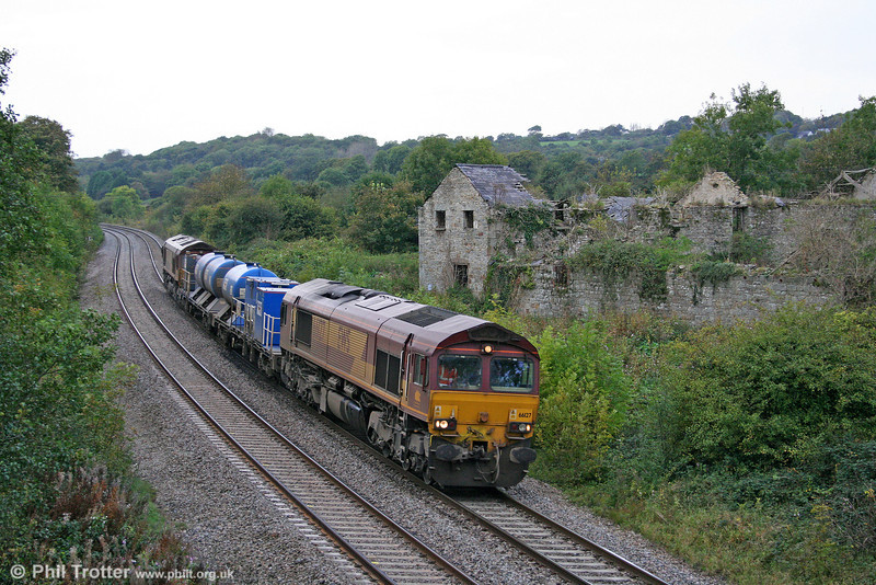 66127 and 66166 top and tail 3S61, 1901 (previous night) Margam to Margam RHTT at Llangewydd on 9th October 2009.