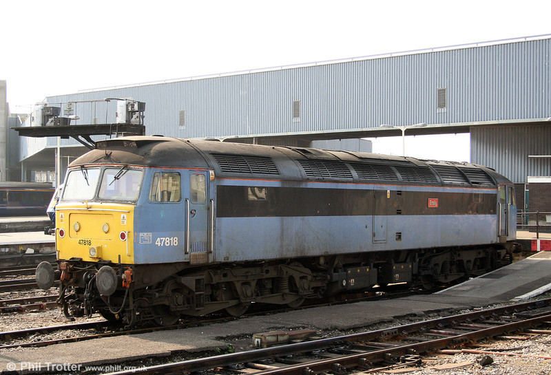 CR 47818 'Emily' awaits its next job at Bristol Temple Meads on 21st March 2009. 47818 was new to Cardiff Canton in December 1965 as D1917.