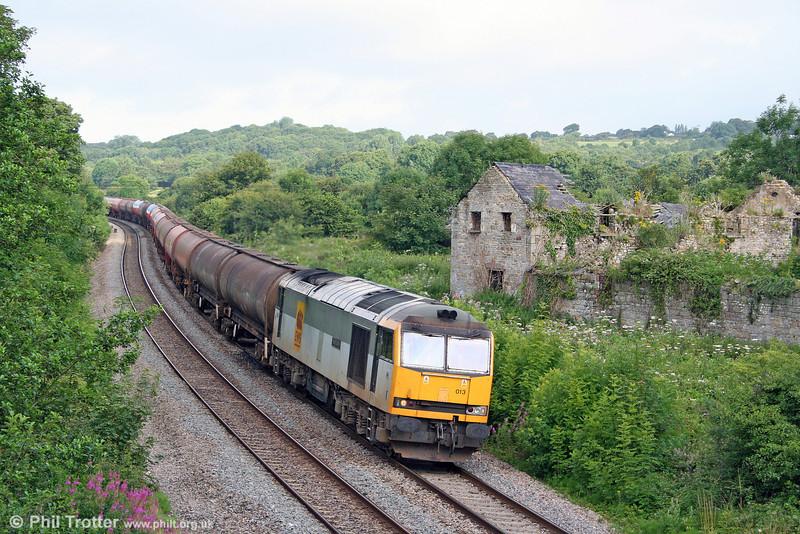 60013 'Robert Boyle' passes Llangewydd with 6B13, 0510 Robeston to Westerleigh on 25th July 2009.