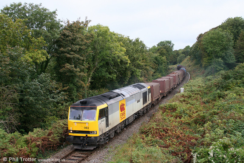 60063 'James Murray' passes Litchard with the diverted 6H25, 1045 Margam to Llanwern on 3rd October 2009.