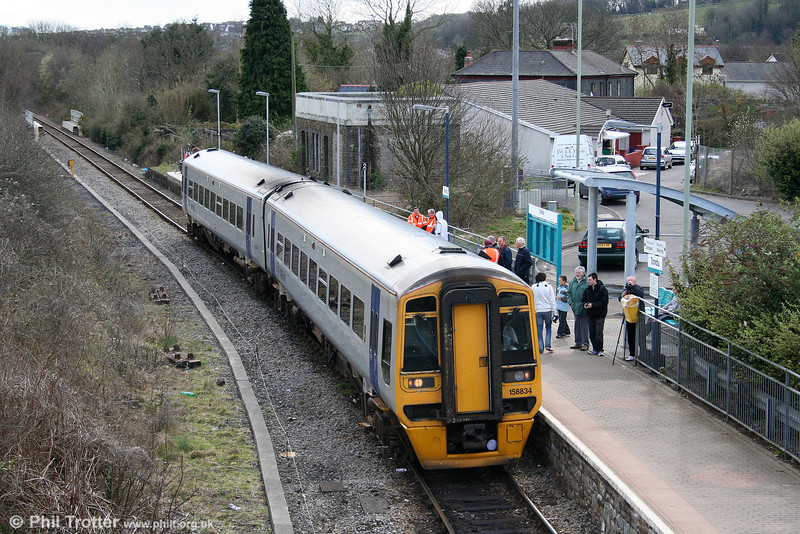 158834 pauses at Tondu while working the 1045 Cheltenham Spa to Maesteg on 28th March 2009.