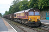 It's half past seven on a Sunday morning and 66114 pauses at Llandeilo with 6Z32, 0552 Margam to Llanwern via Craven Arms on 20th September 2009.