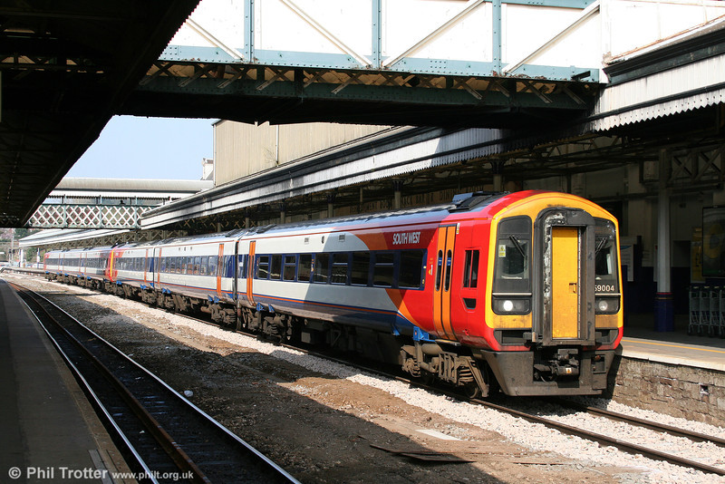 SWT 159004 waits at Exeter St. Davids ready to depart at 1410 for London Waterloo on 21st March 2009.