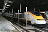 Eurostar half-set 3011 prepares to leave London St. Pancras leading train 9030, 1404 to Lille and Paris Gare du Nord on 24th October 2009.