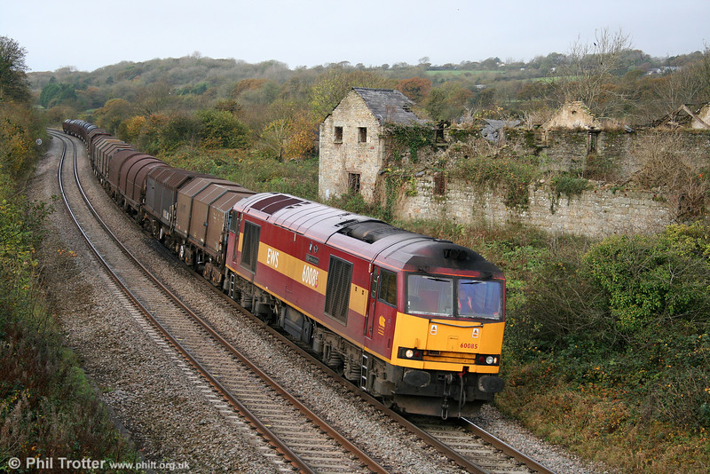 60085 'Mini - Pride of Oxford' was the fourth class 60 running in South Wales on 31st October 2009. Seen here at Llangewydd, the working is 6H25, 0952 Margam to Llanwern.