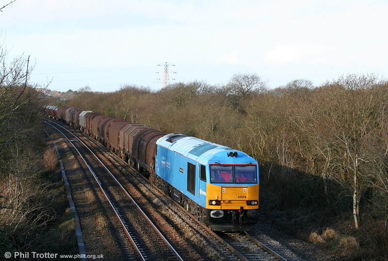 The recession has severely depleted the number of steel trains operating in south Wales. Pristine 60074 'Teenage Spirit' climbs Stormy Bank with 6H25, 0958 Margam to Llanwern on 25th January 2009.