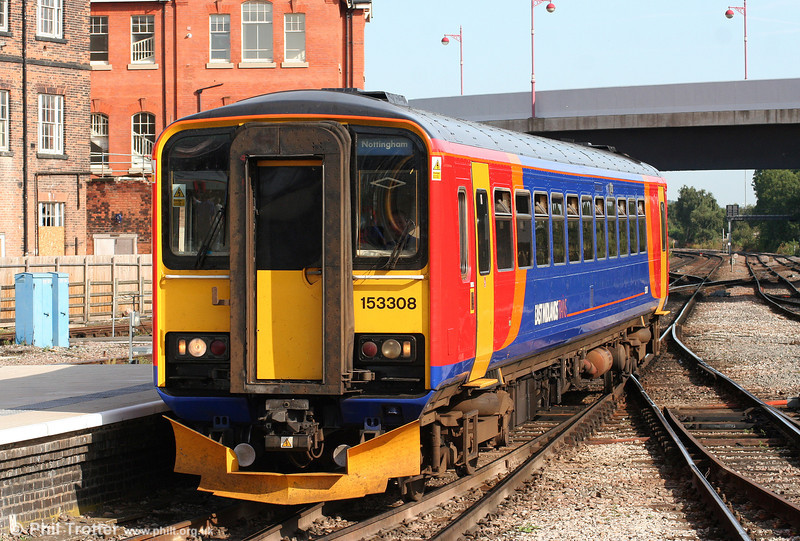 East Midlands class 153s look quite good in their new livery. Here, 153308 arrives at Derby forming the 0838 Matlock to Nottingham on 6th August 2009.