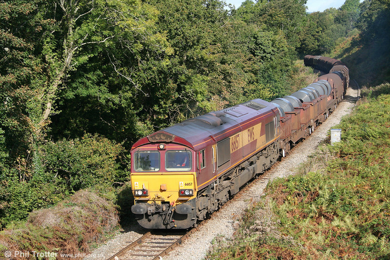 66157 again. Now passing Litchard with the diverted 6H25, 0917 Margam to Llanwern on 4th October 2009.