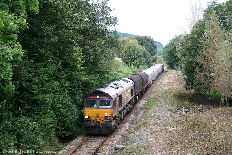 The diverted 6Z22, 0555 Llanwern to Margam is seen at Derwydd behind 66248 on 27th September 2009.
