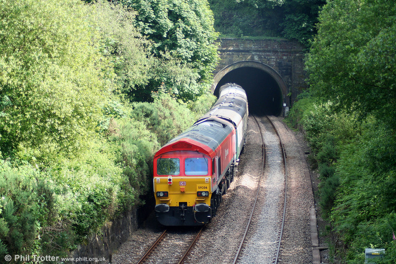 59206 'John F Yeoman - Rail Pioneer' ia about to disappear into Lonlas Tunnel at the rear of 1Z59, 1556 Carmarthen to London Paddington, the return 'Thames-Towy' on 13th June 2009.