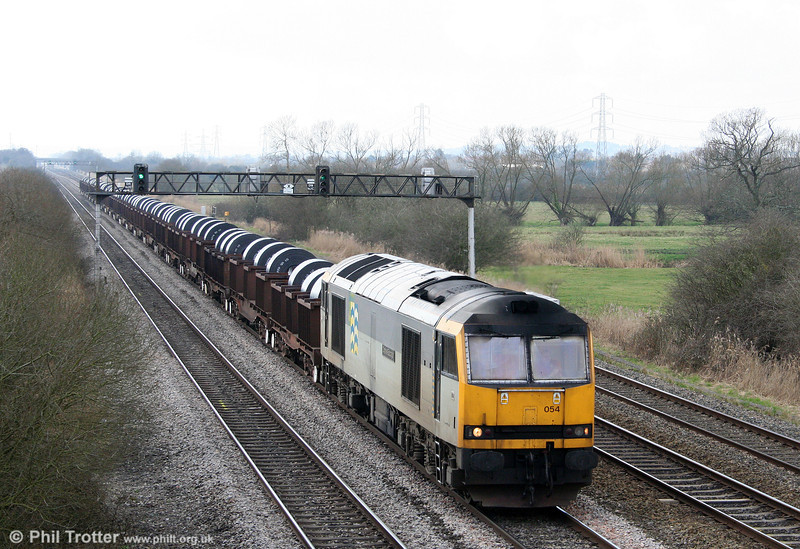 Proof that the recession hasn't completely wiped out steel production: 60054 'Charles Babbage' passes Coedkernew with 6H25, 1001 Margam to Llanwern on 1st March 2009.