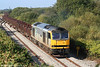 60054 'Charles Babbage' is seen leaving Trostre with a lengthy train of empties forming 6B61, 1105 return to Margam on 27th September 2009.