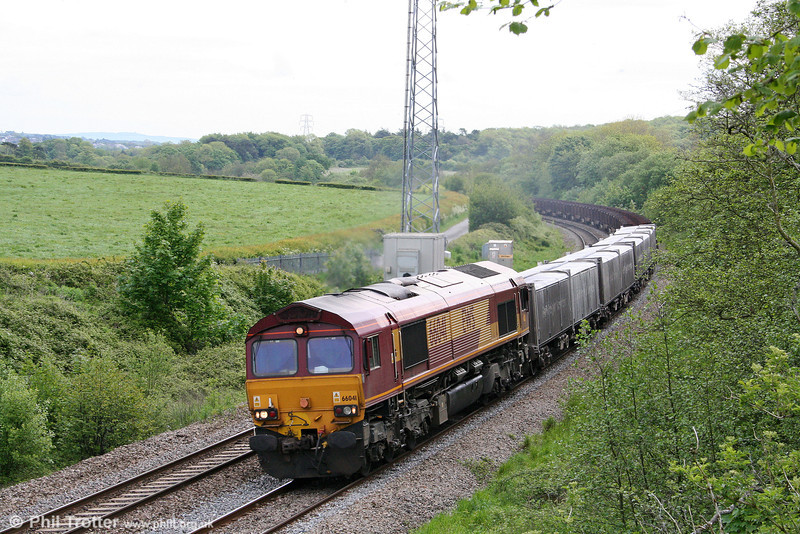 66041 passes Llangewydd with 6V19, 1722 Immingham to Margam on 23rd May 2009.